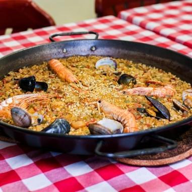 Vegan paella with seasonal vegetables...